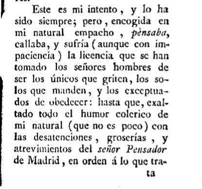"""""""Señoras mías, ya tienen ustedes a quien las vengue"""". Beatriz Cienfuegos, La Pensadora Gaditana"""
